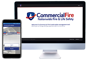 Commercial Fire App and Portal on Mobile and Desktop Screens
